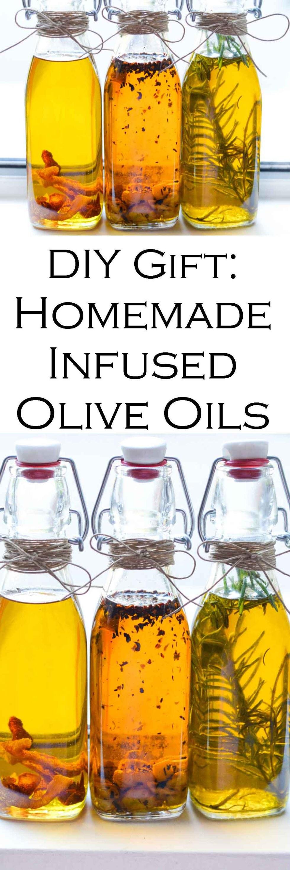 Homemade Gift Idea - Infused Olive Oils #christmasgifts #homemadegifts #diygifts #homemaking #oliveoil #healthyrecipes #LMrecipes