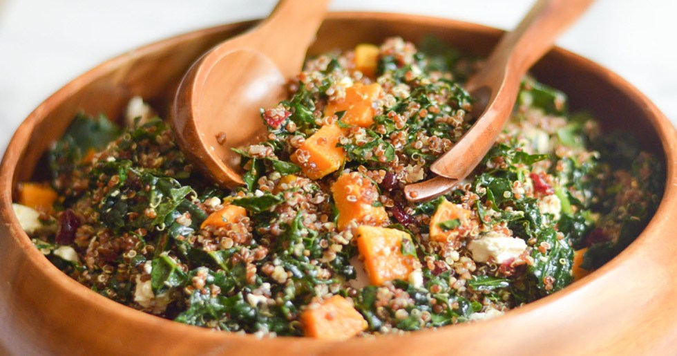 13 Healthy Holiday Side Dishes + Appetizers - Quinoa and Kale Salad