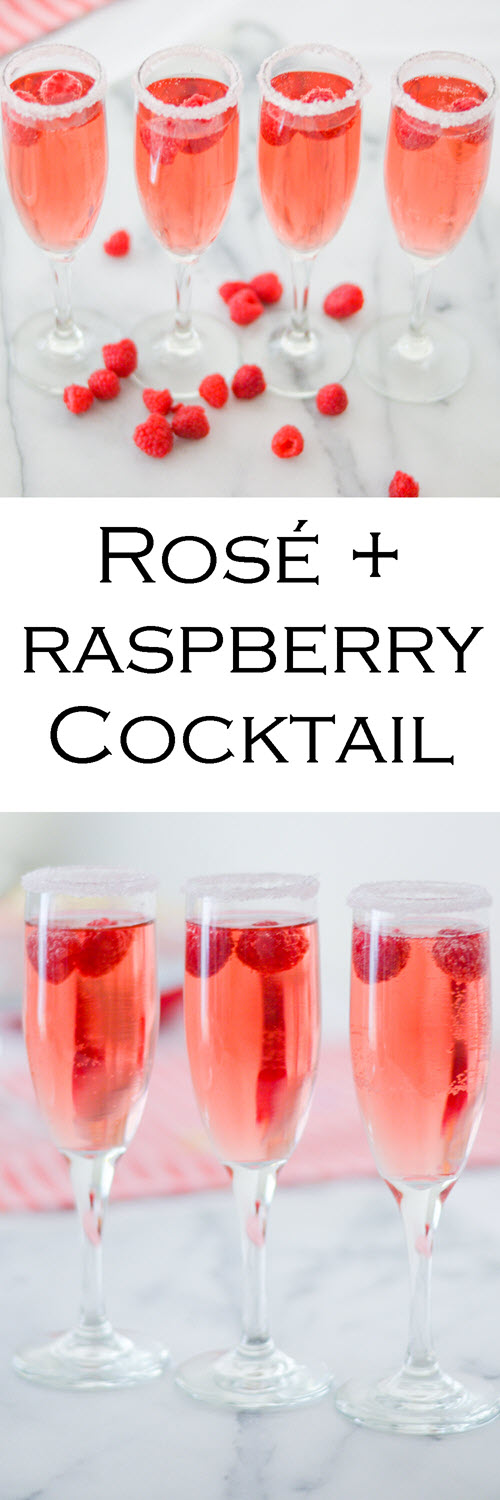 Easy Raspberry + Rose cocktail. This pink drink recipe is perfect for Galentine's Day and Valentines! #LMrecipes #drinks #drinkrecipe #cocktail #rosewine #raspberry #valentinesday #galentinesday #recipe #mixology #cocktailhour