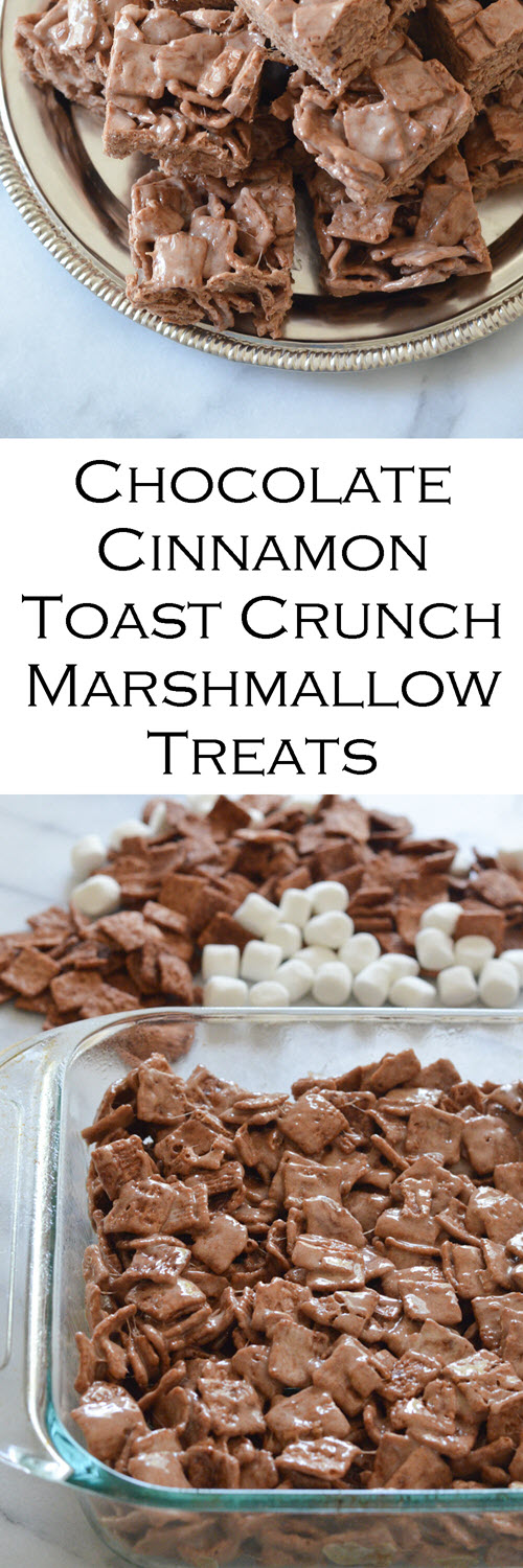 Chocolate Cinnamon Toast Crunch Bars. Just like rice krispie treats, this stovetop dessert recipe is made of your favorite cereal and deliciousness. A fast dessert recipe everyone will love. #LMrecipes #dessert #dessertrecipes #chocolate #chocolaterecipes #chocolatelover #cereal #cinnamontoastcrunch #marshmallow #ricekrispietreats #foodblog #foodblogger