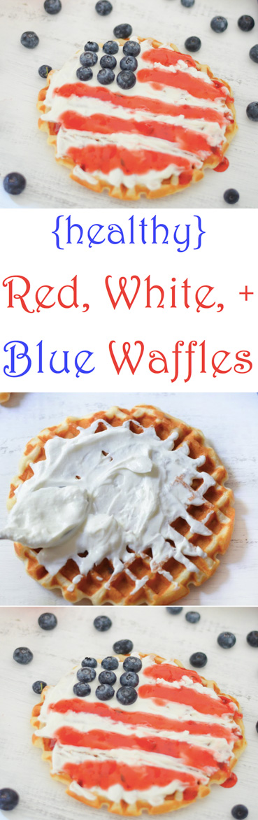 Healthy Patriotic Waffles - Red, White, + Blue Breakfast Recipe - Patriotic Treats + Snacks #patriotic #july4threcipes #fourthofjuly