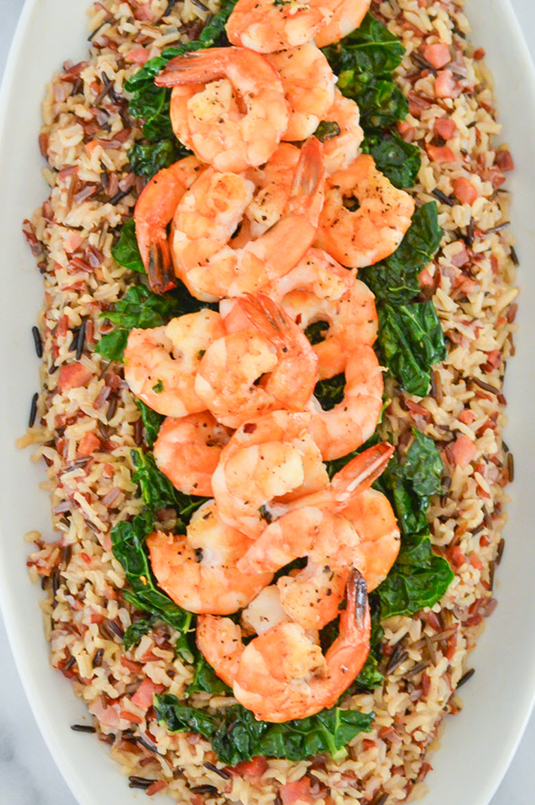 One Pot Shrimp + Pancetta Wild Rice Medley