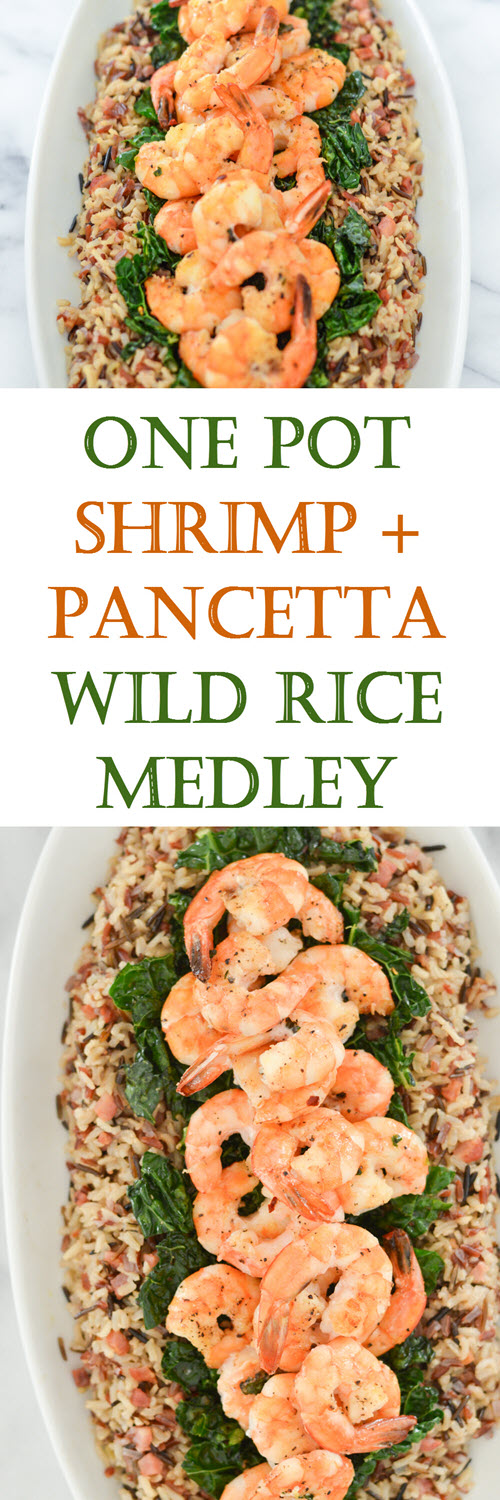 Easy One Pot Shrimp and Rice Dinner. Mixed wtih pancetta, wild rice, and kale, this meal comes together in just one pot and a few simple steps! #LMrecipes #dinner #dinnerrecipe #shrimp #rice #onepot #dutchoven #dinnerrecipe #foodblog #foodblogger