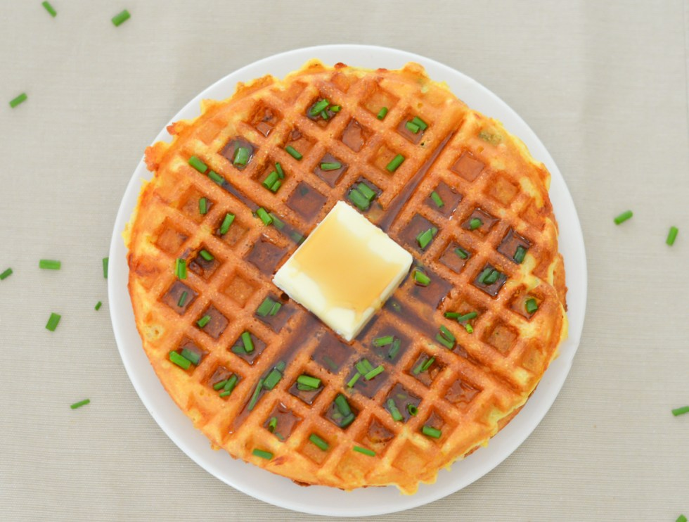 Cheddar + Chive Waffles w. Cornmeal | Luci's Morsels