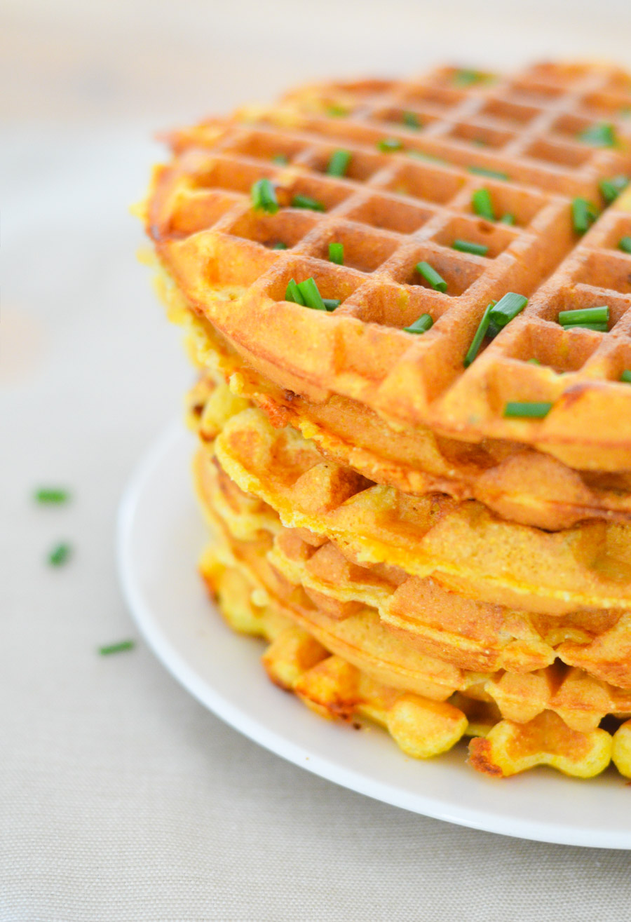 Cheddar + Chive Cornmeal Waffles | Luci's Morsels