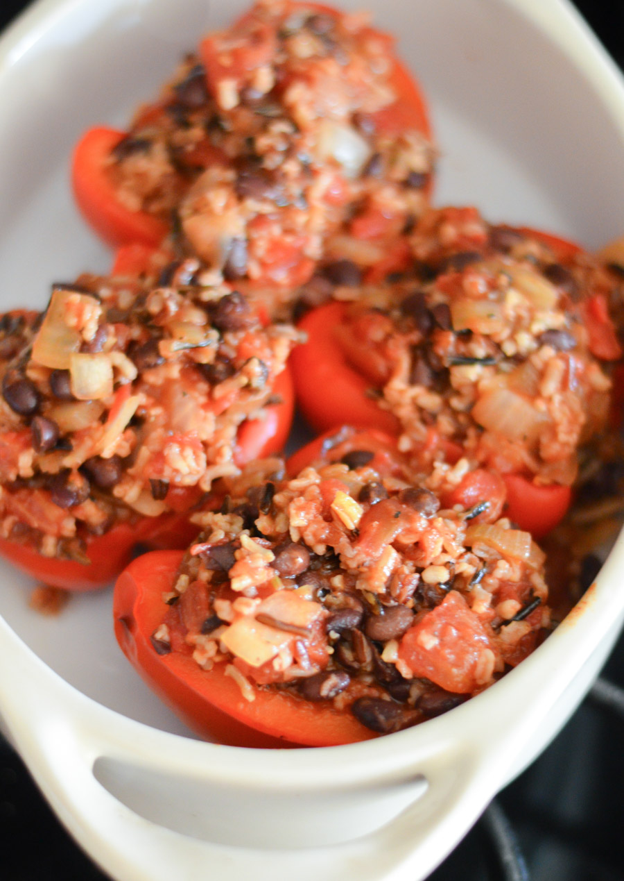 Homemade Stuffed Bell Peppers with Rice