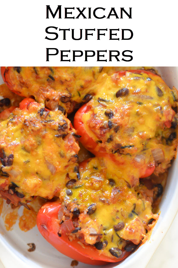 Homemade Mexican Stuffed Peppers with Rice. Vegetarian Mexican dinner recipe with wild rice. #LMrecipes #fajitas #mexicanfood #tacotuesday #dinner #dinnerideas #foodblog #foodblogger