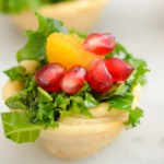 Poppy Seed + Pomegranate Kale Salad Cups - Thanksgiving Appetizers