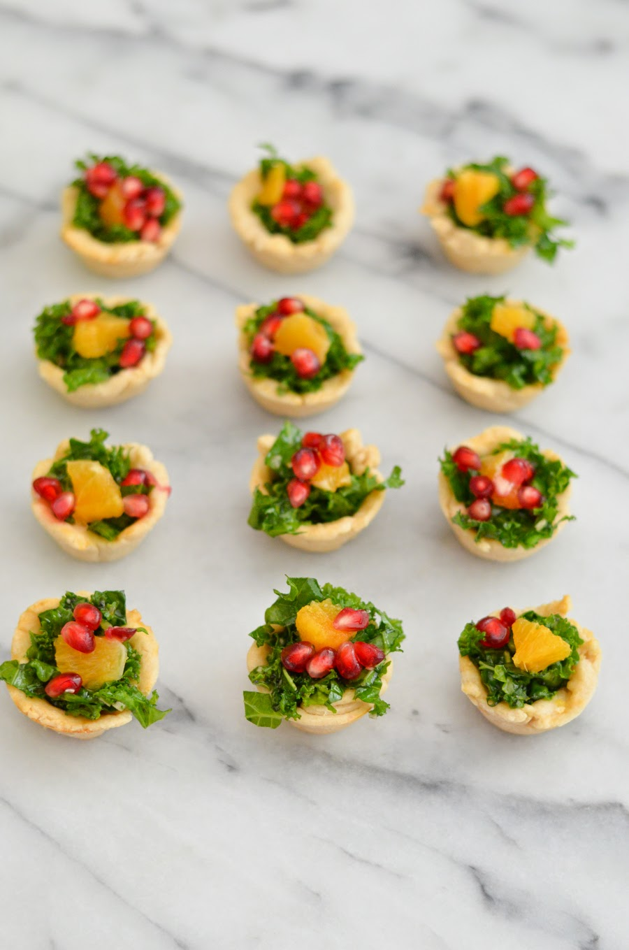 Mini Pomegranate Kale Salad Appetizer Cups w. Sweet Poppy Seed Dressing. Make Ahead Thanksgiving Appetizers