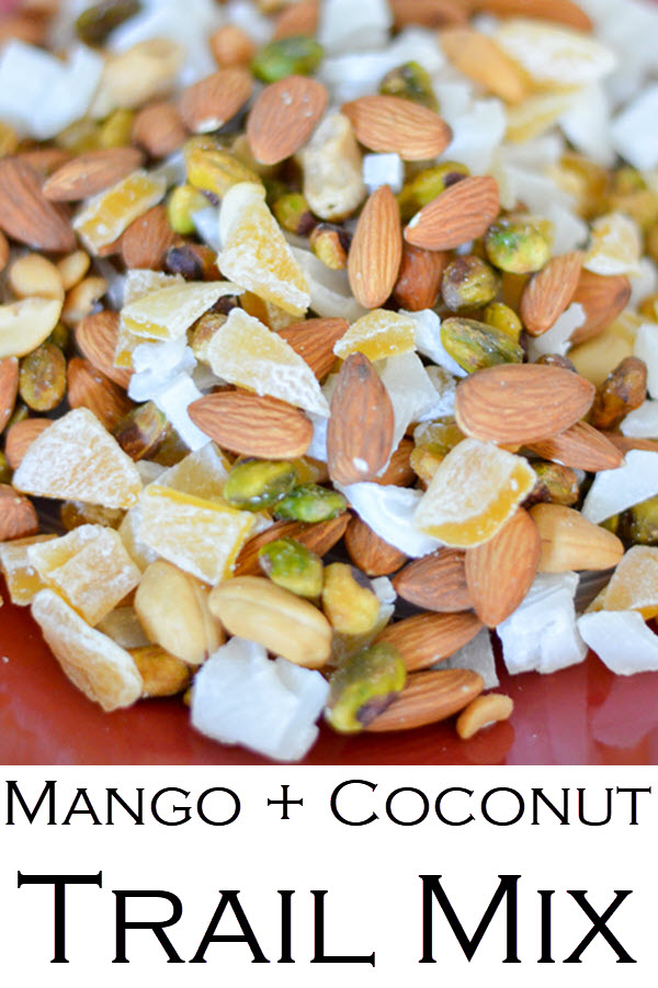 Mango + Coconut Trail Mix. This delicious trail mix recipe has dried mango and dried young coconut for a wonderful island recipe! A healthy snack you can make in minutes.