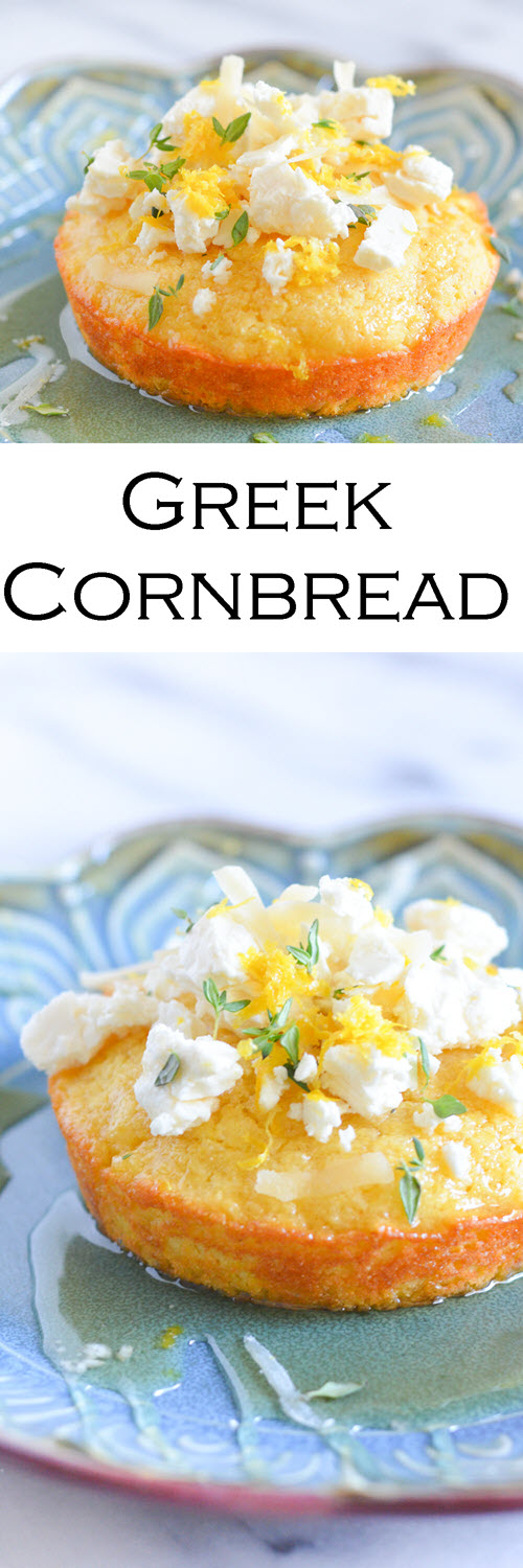 Greek Cornbread w. Honey, Feta, + Lemon. A fun twist on an easy cornbread recipe. This savory cornbread is a delight!