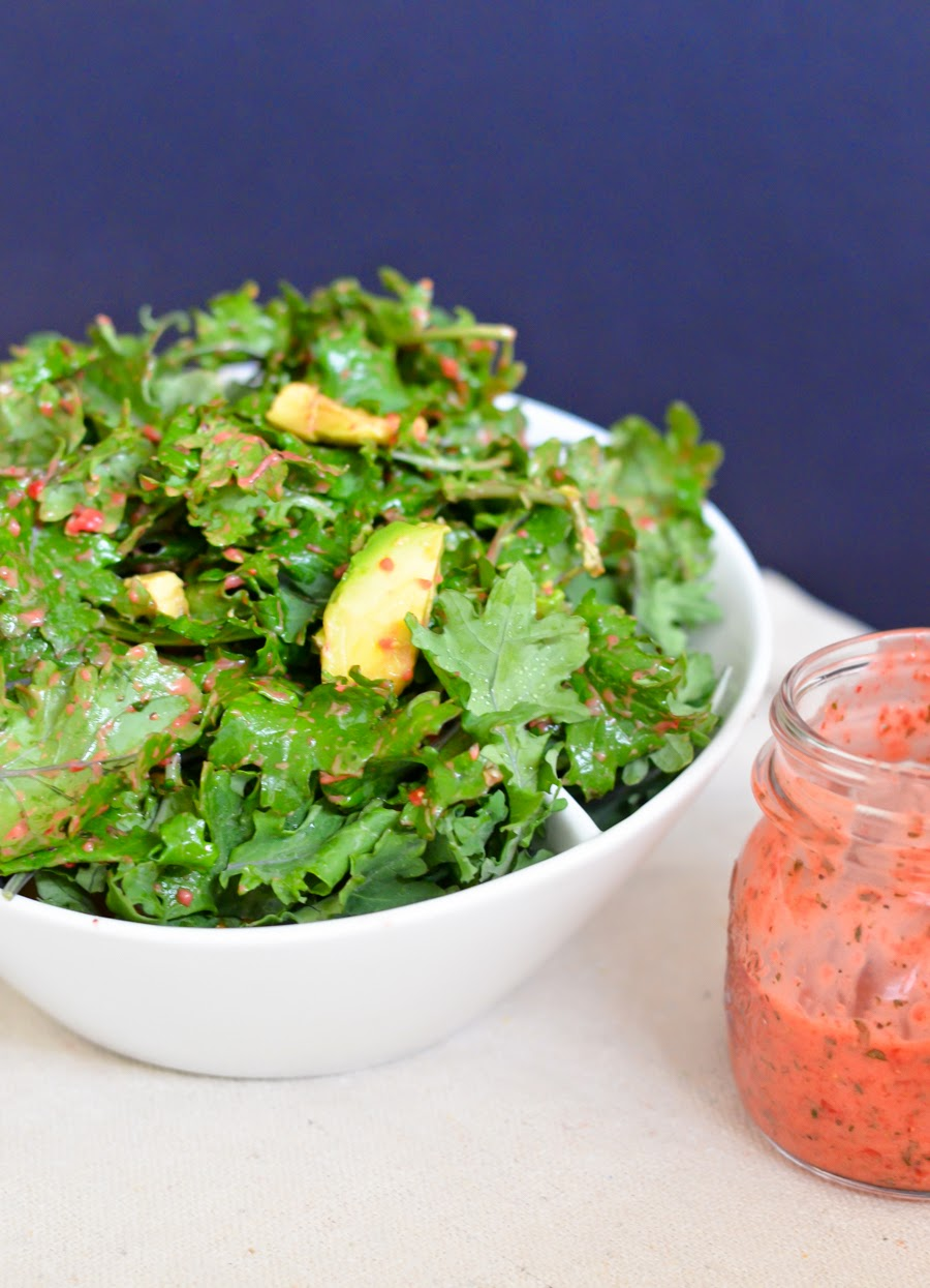 Strawberry Mint Kale Salad