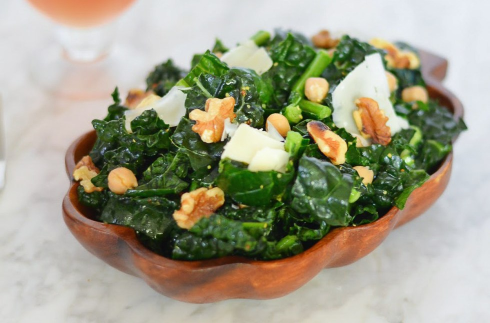 Whole Grain Mustard Vinaigrette on Kale salad with Walnuts + Shaved Parmesan