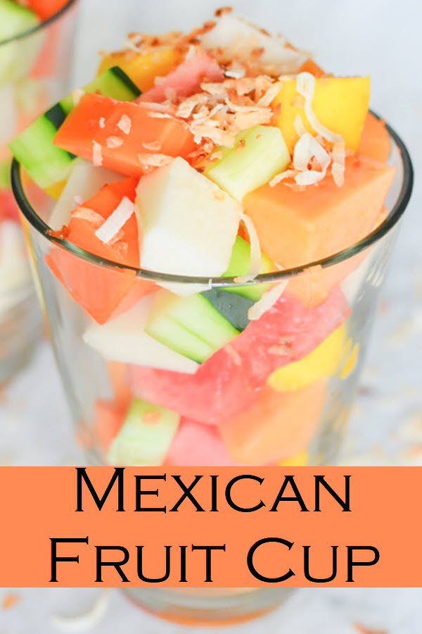 Mexican Fruit Salad. Inspired by the LA fruit carts, this fruit salad combiens mango, jicama, watermelon, papaya, fresh baby coconut, and cucumber for a deliciously refreshing salad, side dish, or snack.