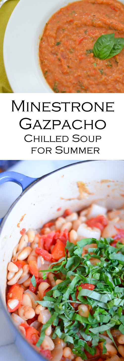 Gazpacho Chilled Minestrone Soup - Healthy Summer Dinner. This easy summer dinner is a no-bake recipe that's a summer meal for everyone. Serve with cheese and crackers or even as a side dish at a bbq.