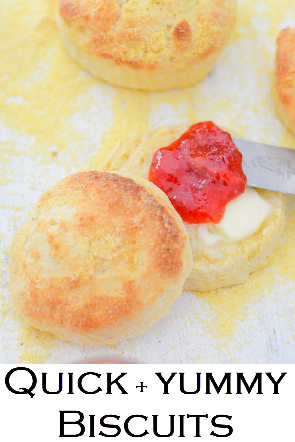 Quick Biscuits. Homemade Butter Biscuits. This fast and easy recipe for delicious cornmeal biscuits is a must in your recipe box. Crunchy biscuits, that come together and cook quickly, this recipe gives flaky biscuits everyone will love.