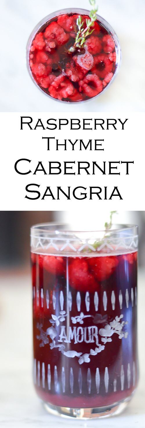 Raspberry Thyme Cabernet Sangria. A delicious year round red wine sangria with frozen or fresh raspberries. This cabernet sangria recipe is easy and delicious.
