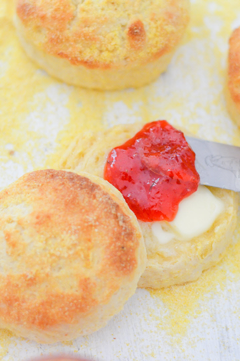 (ft) Homemade Cornmeal Biscuits w. butter + Homemade Strawberry Thyme Jam - Luci's Morsels -- LA Food Blogger-1