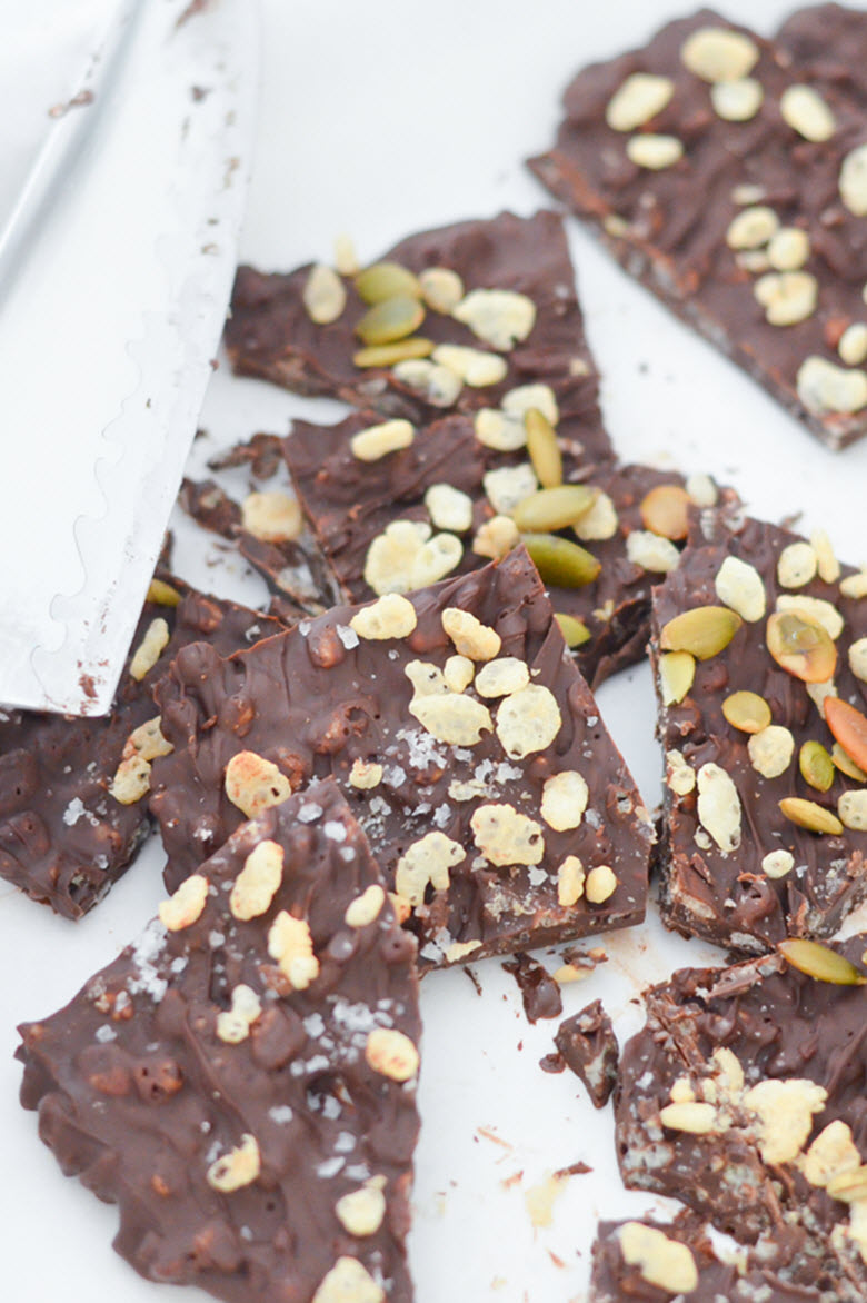 (ft) Homemade Crunch Candy Bars w. Sea Salt + Sprinkles + Pumpkin Seeds - Easy no-oven Dessert Recipe - Luci's Morsels -- LA Food Blog