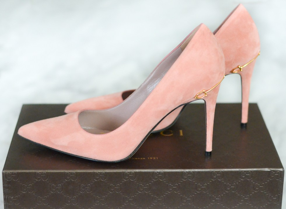 Gucci Pink Suede Wedding Shoes