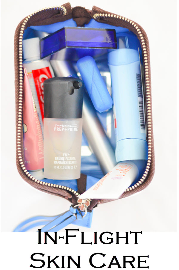 In Flight Skin Care. International Plane Travel Skin + Beauty Care - What to Pack in your makeup bag. #trael #traveltips #skincare #internationaltravel