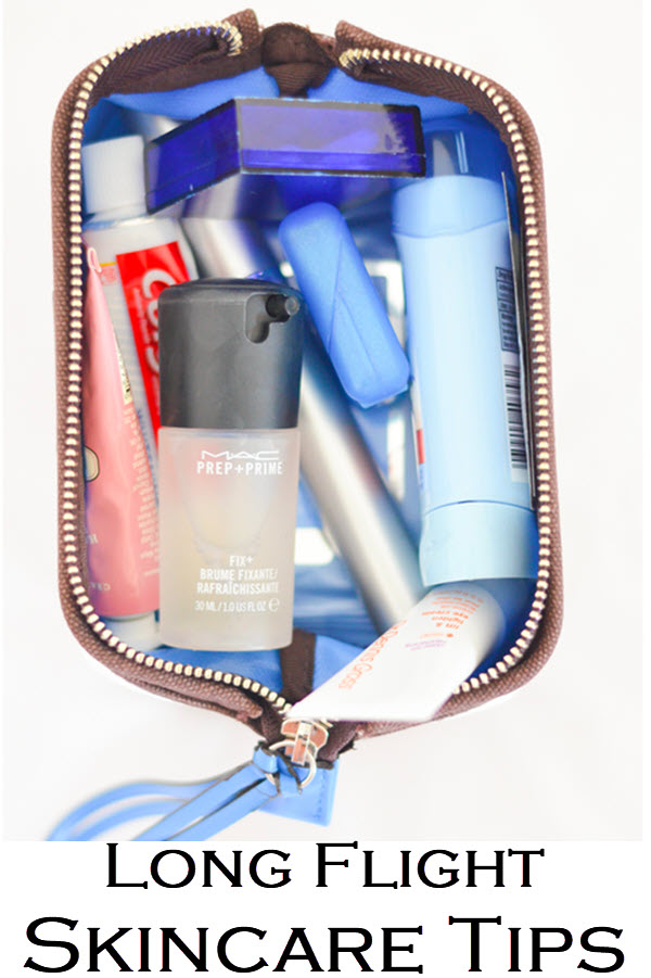 Long Flight Skincare Tips. International Plane Travel Skin + Beauty Care - What to Pack in your makeup bag. #trael #traveltips #skincare #internationaltravel