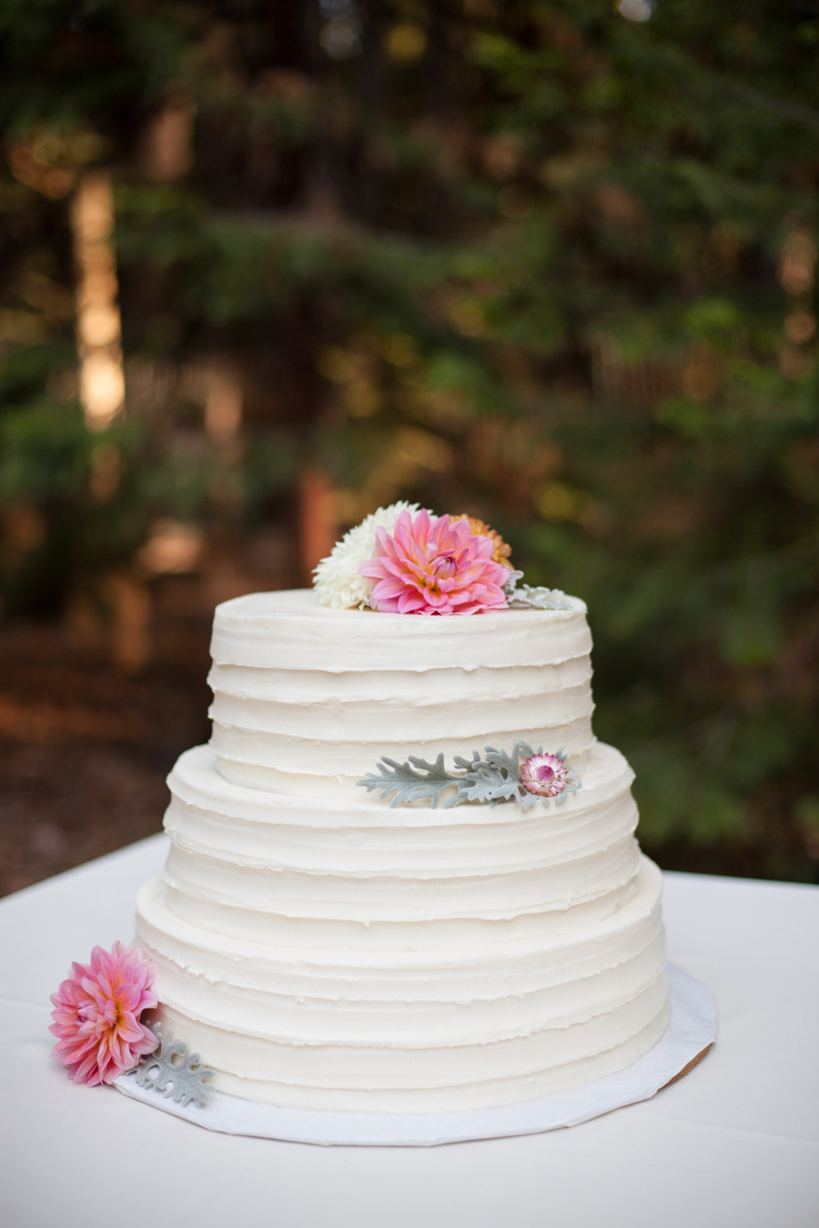 Simple Tiered Wedding Cake with Farm Fresh Flowers