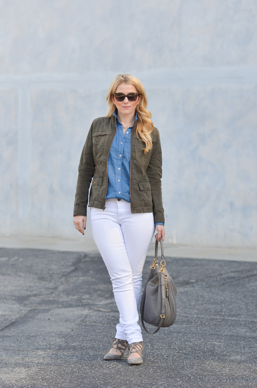 California Tailored Blue Shirt | White Jeans in Winter