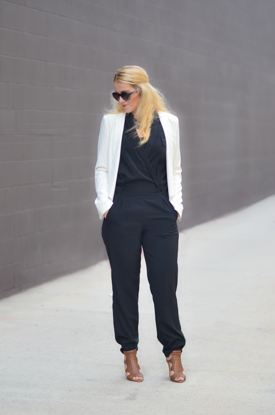 How to Style Black Jumpsuit + White Blazer | What to Wear Over a Sleeveless Jumpsuit