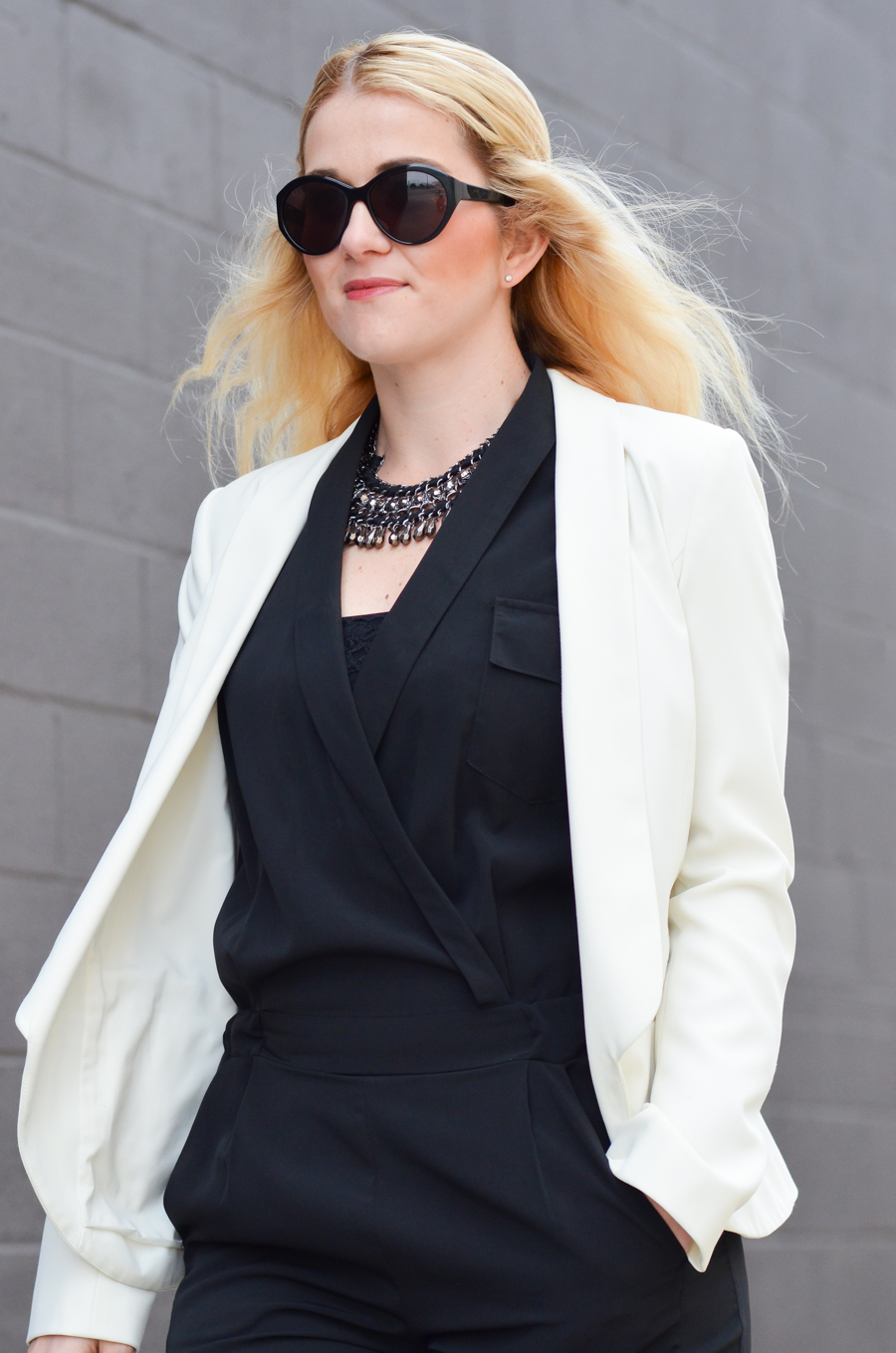 How to Style Black Jumpsuit + White Blazer