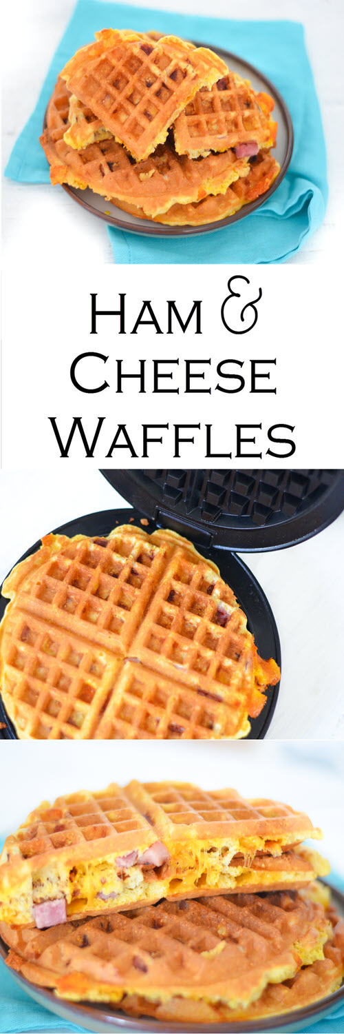 A delicious and easy recipe for Ham + Cheese Waffles. These savory waffles are perfect for breakfast, brunch, and dinner. They're also a great leftover ham recipes!#lmrecipes #dinner #easydinner #waffles #breakfast #brunch #easter #ham #cheese #foodblog #foodblogger