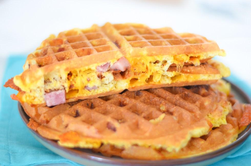 Easy Ham and Cheese Waffles | Ham Leftover Recipe