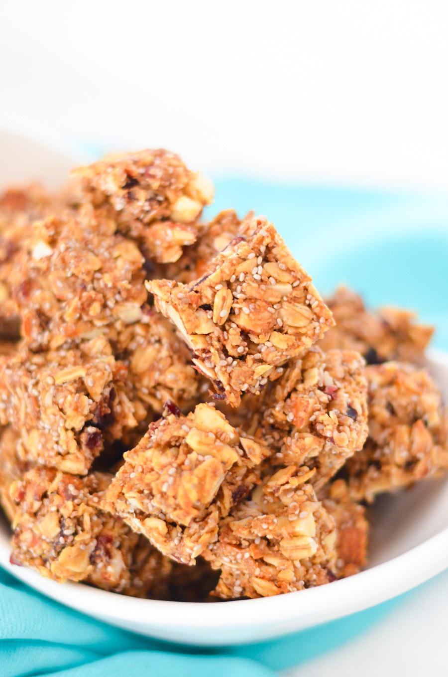 Chia Seed + Coconut Granola Bites Recipe w. Peanut Butter + Honey + Ground Flax Seeds - LA Healthy Food Blogger