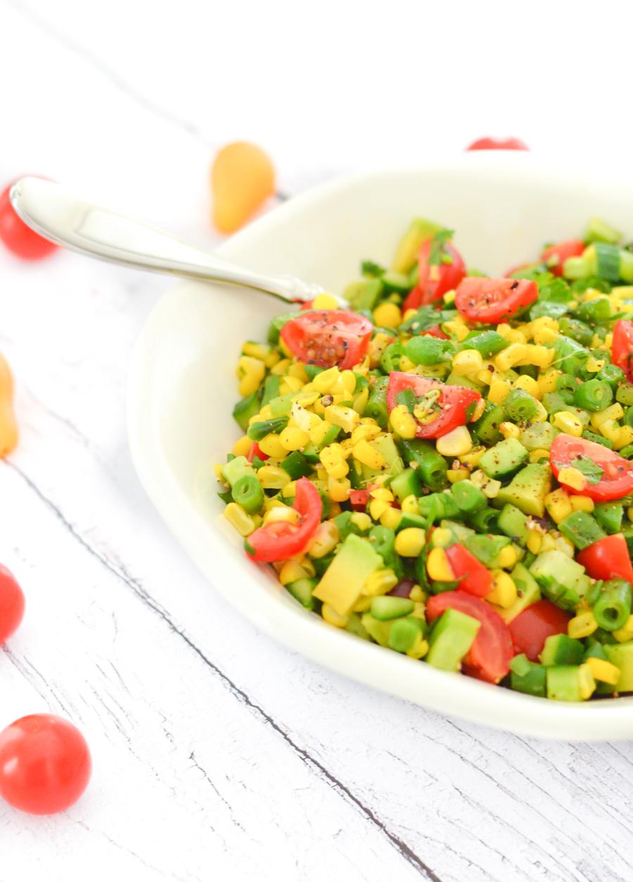 California Avocado Succotash Salad w. Green Beans, Corn, + Tomatoes