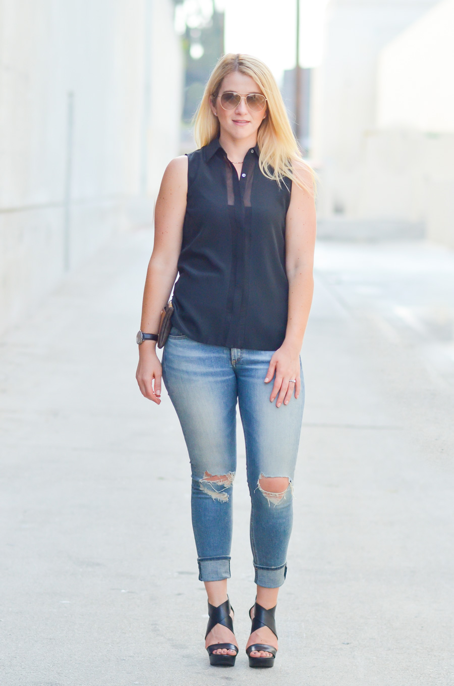 Black Sheer top Outfit - How to Style Distressed Skinny Jeans in Summer