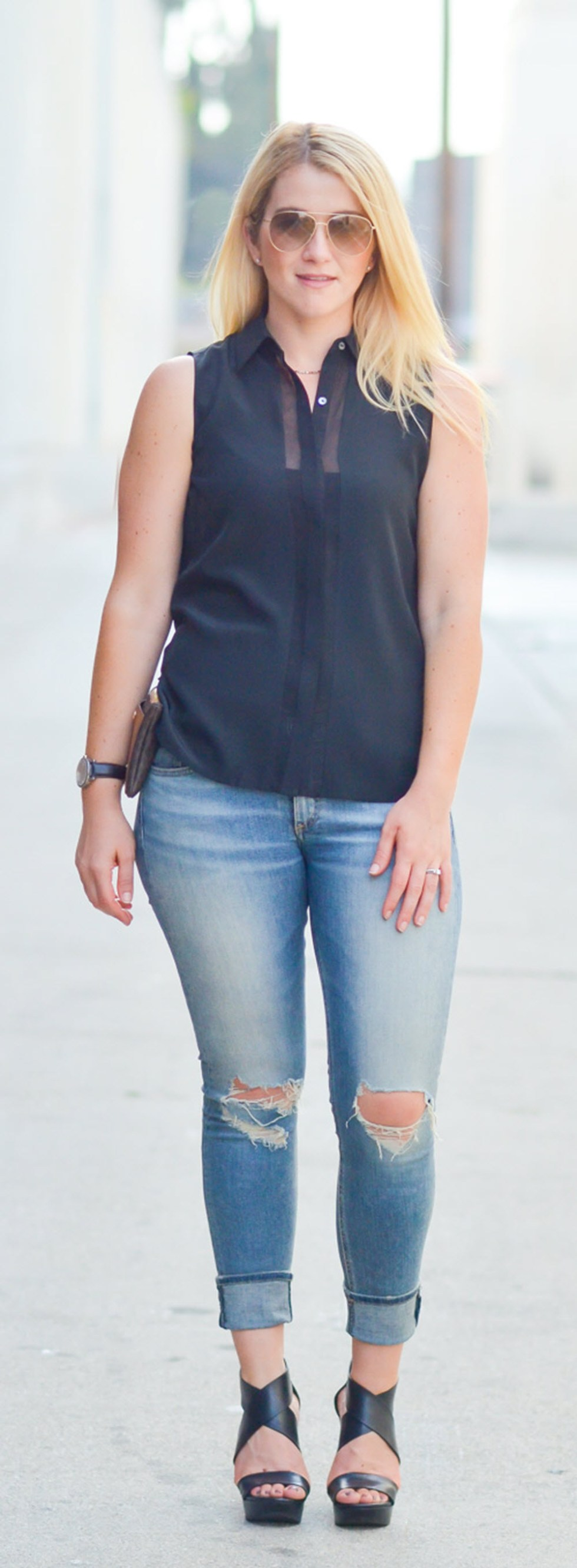 Black Sheer Top Outfit w. Wedges + Distressed Skinny Rag & Bone Jeans