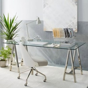 Cross-Base Glass Desk