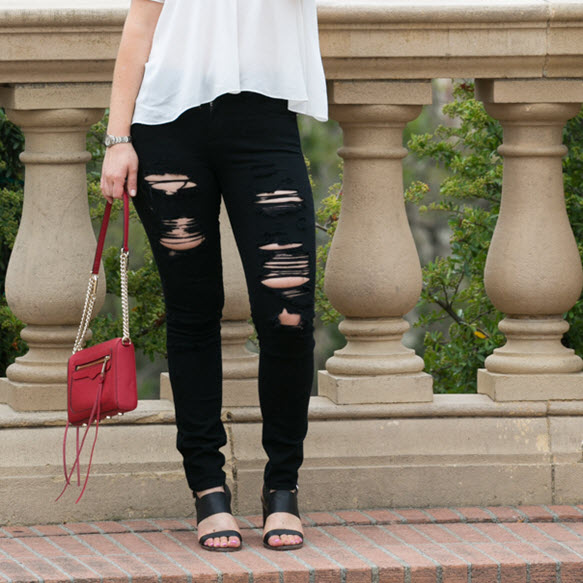A Gold E Distressed Black Skinny Jeans