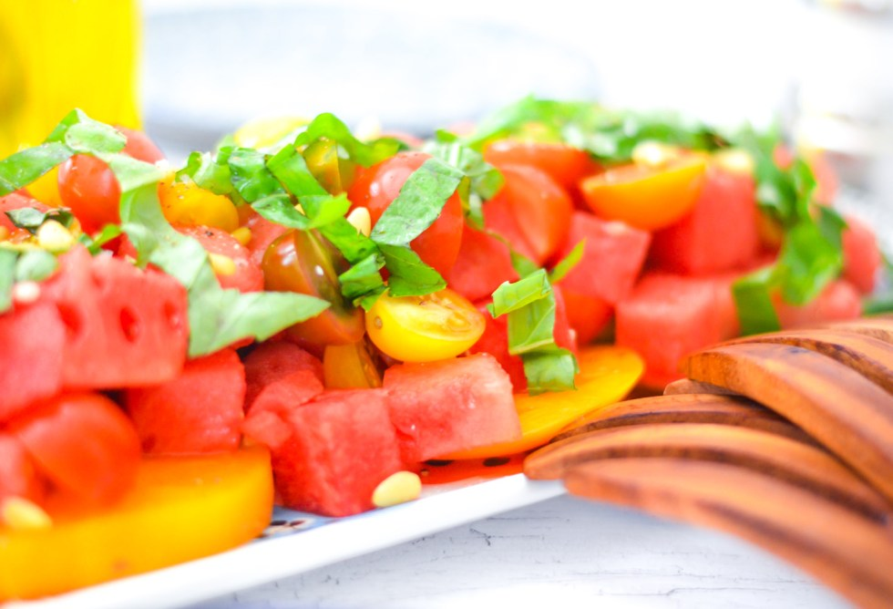 9 Healthy Summer Salads | Heirloom Tomato, Basil, + Watermelon Salad
