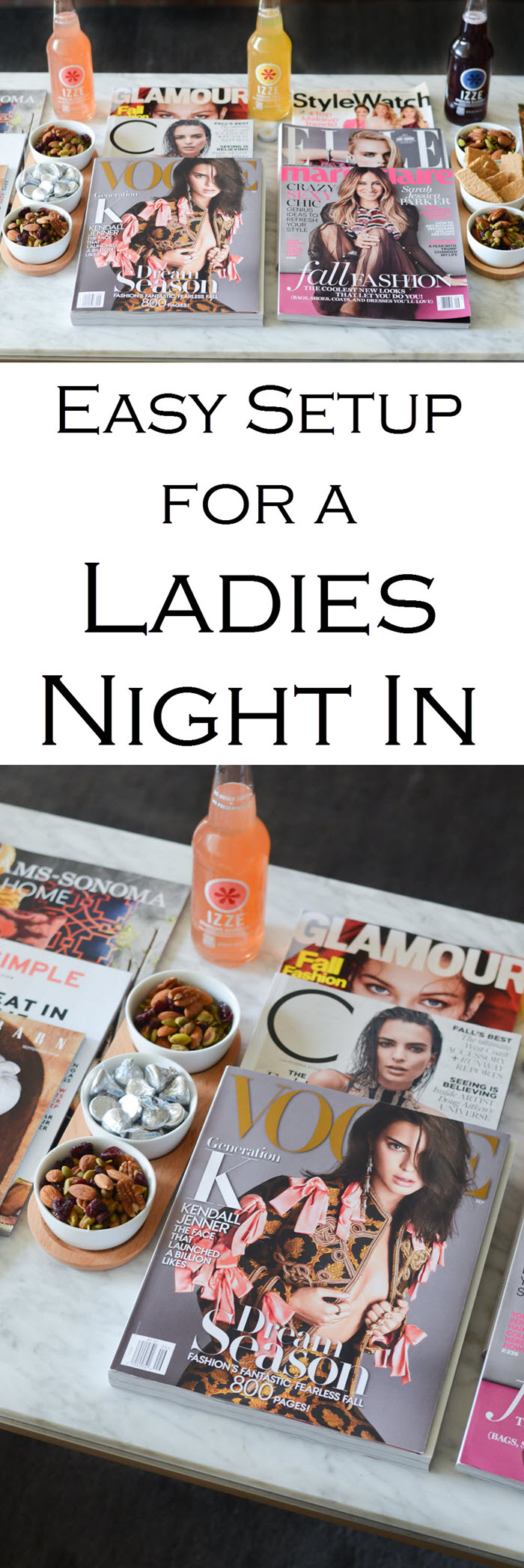 Easy setup for a Ladies Night in with Friends. Fall Fashion Magazine Party w. Friends