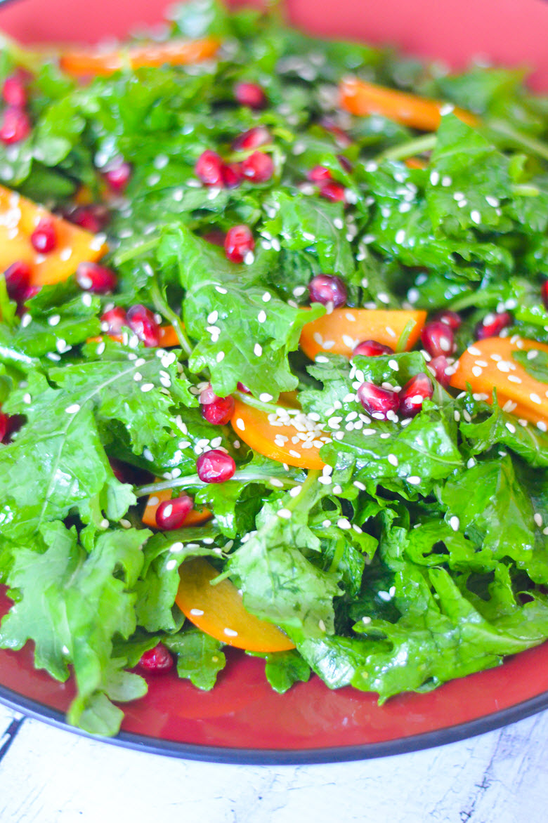 Persimmon + Pomegranate Kale Salad