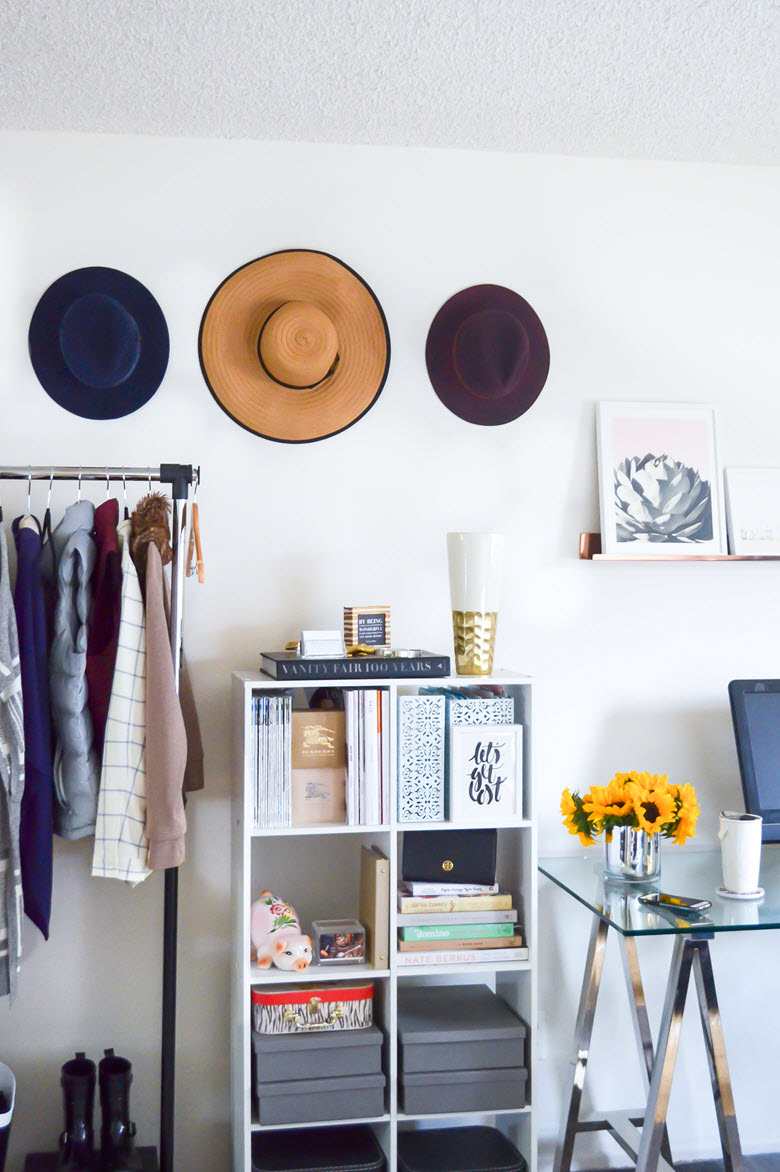 Blogger Home Office | How to Hang Hats on Wall