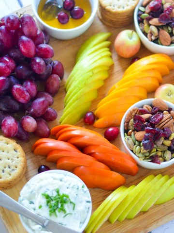 Fruit + Cheese Appetizer Board for 8 People w. persimmons, apple, trail mix, crackers, and goat cheese