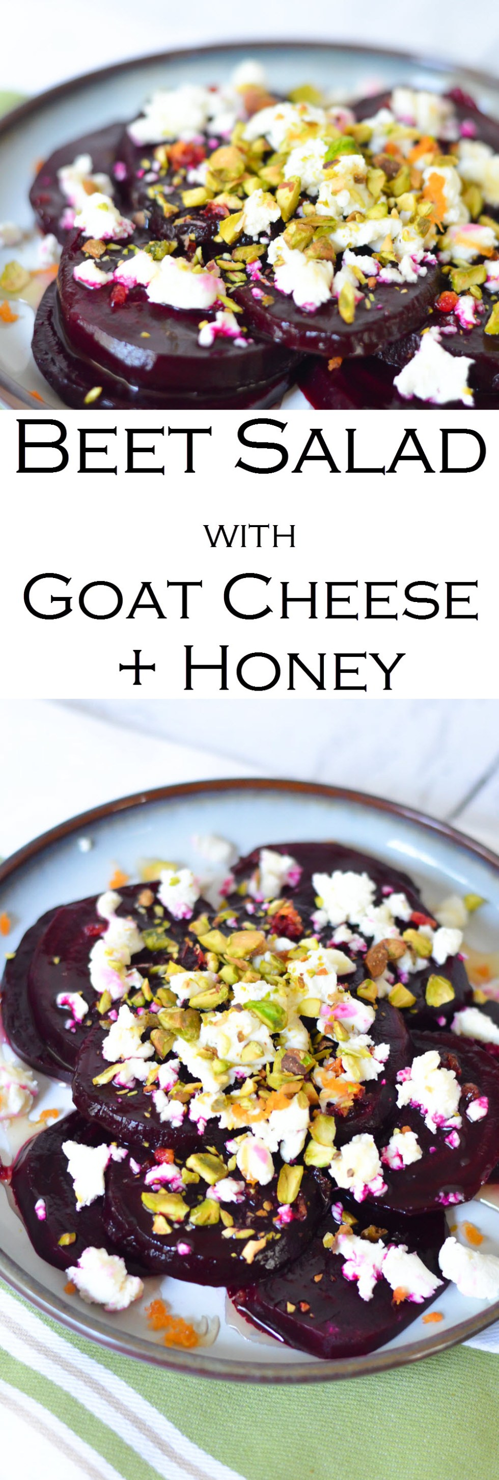 Cold Beet Salad w. Goat Cheese, Honey, + Pistachios