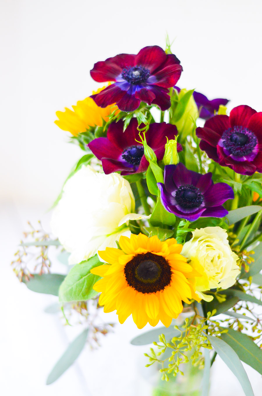 Tips for Arranging Flowers for a Beginner. DIY Yellow + Purple Flower Ideas w. Sunflowers - Original LA Flower Market