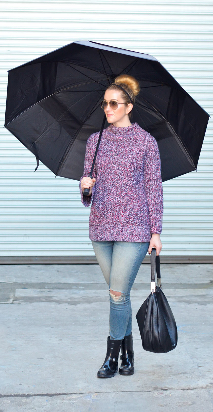 Women's Rainy Day Outfit with short rain boots + turtleneck sweater