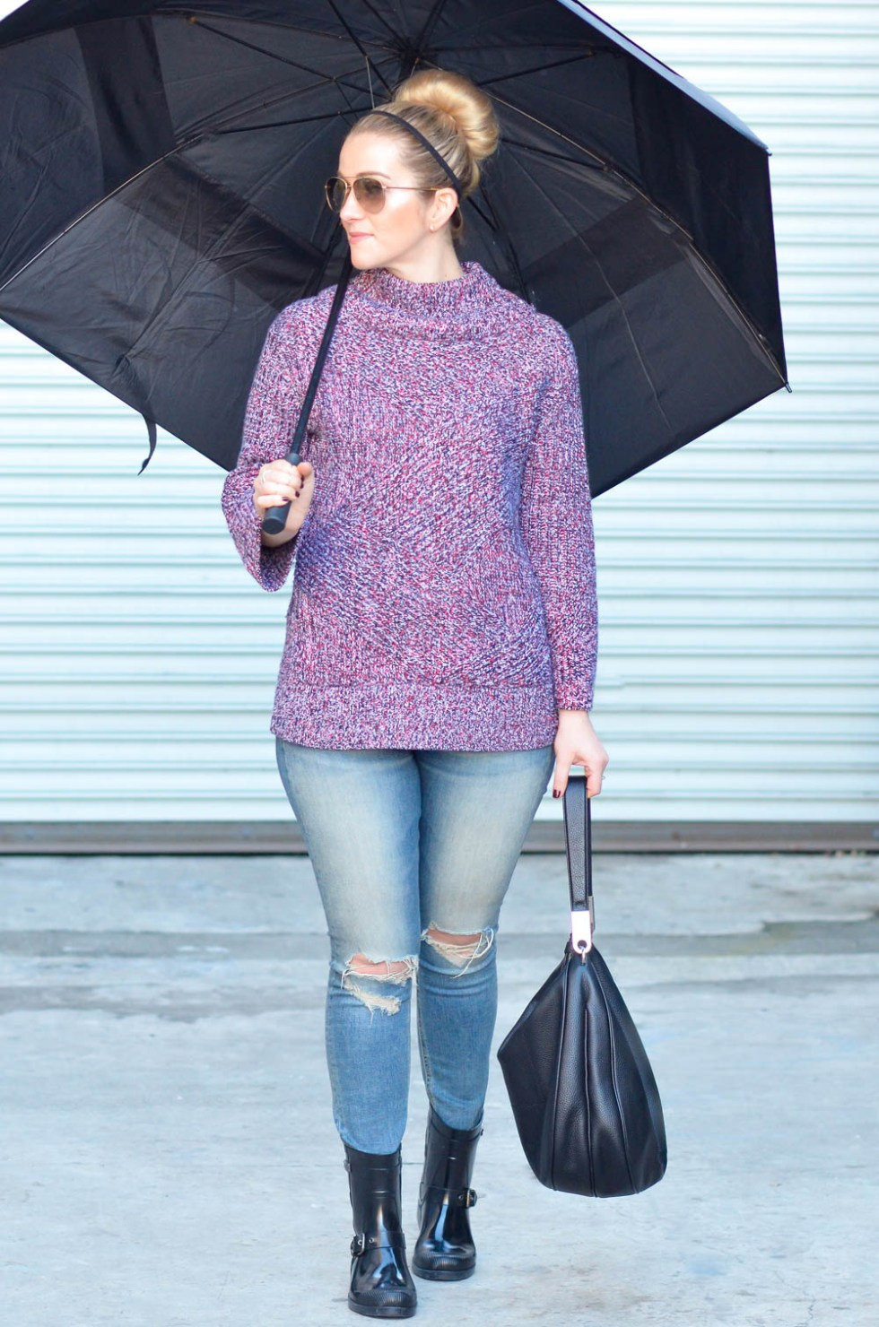 Women's Rainy Day Outfit w. Short Rain Boots