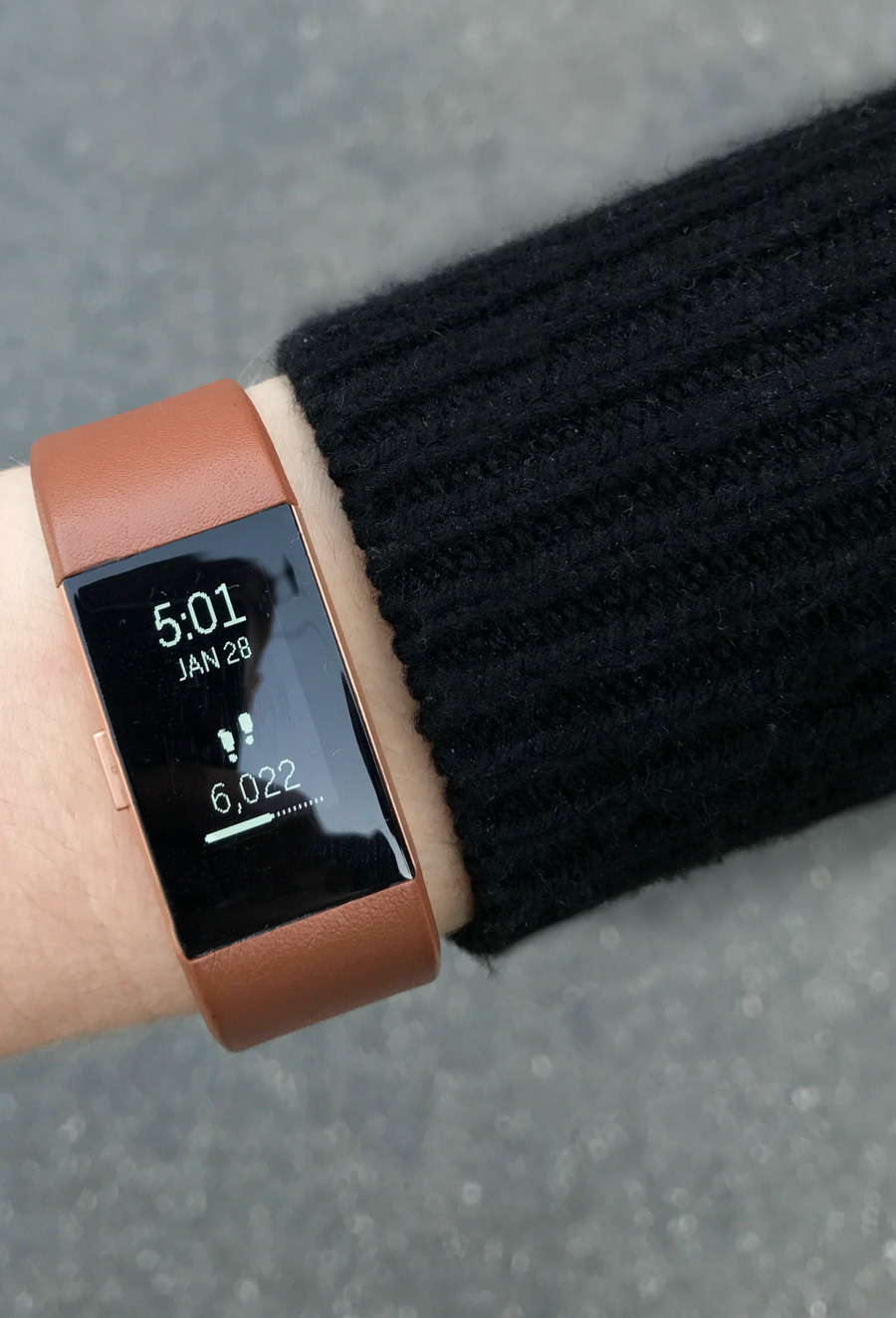 Honest Fitbit Review + Accessories (Outfit Photos - Brown Leather Band)