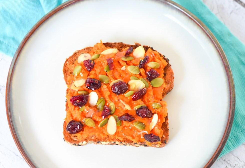 Mashed Sweet Potato Toast Toppings Ideas - Honey + Fruit