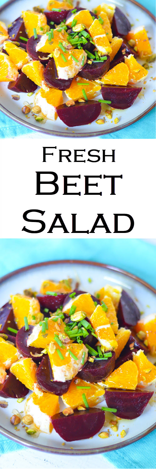 Fresh Beet Salad w. Oranges. A delicious and fresh Winter Salad to serve as a side dish, small salad, or as a small lunch. #LMrecipes #beets #oranges #salad #healthy #winter #winterproduce #farmtotable #foodblog #foodblogger